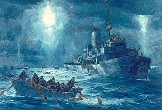 SS Dorchester - Coast Guard cutter Escanaba rescues Dorchester survivors, February 3, 1943.