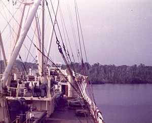 Palm Line - Ilesha Palm navigating the Escravos River to Sapele, Nigeria