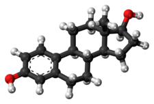 A ball-and-stick model of estradiol.