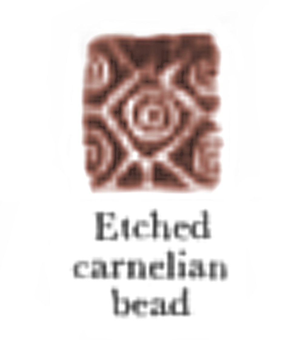 Etched carnelian bead of the Indus Valley Civilization
