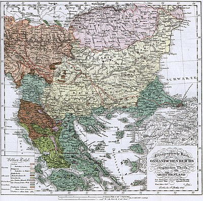 Ethnic composition map of the Balkans (1847) Ethnographic map Ami Boué, 1847.jpg