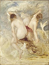 three nude women on a rock, with a sea serpent coiling around the rock.