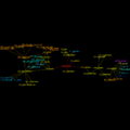 EtymTreeGraph paw-pudeo-pudetNL fillcolor Comm (Gephi original colour BBack2noDegree).png