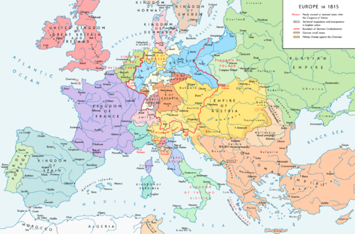 The boundaries set by the Congress of Vienna, 1815. Europe 1815 map en.png