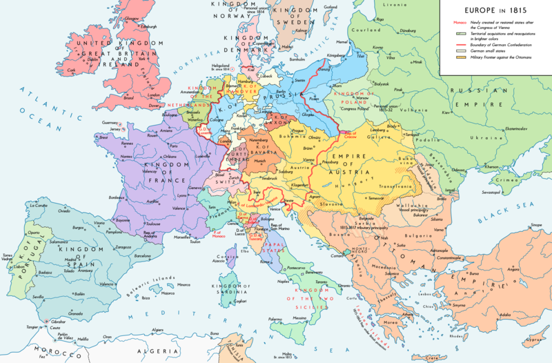 The national boundaries within Europe as set by the Congress of Vienna, 1815. Europe 1815 map en.png