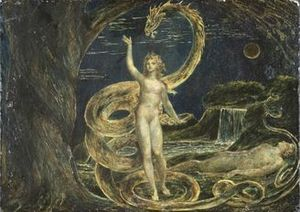Agony in the Garden (Blake) - Eve Tempted by the Serpent. Tempera on Copper. Another work from the series painted on metal, in this case copperplate.