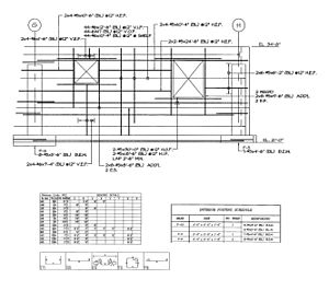 Shop drawing - Steel reinforcement for a foundation wall opening. This shop drawing will require the builder and mechanical engineer to specify the opening size for an air-intake and exhaust louvers to be placed in the concrete openings.