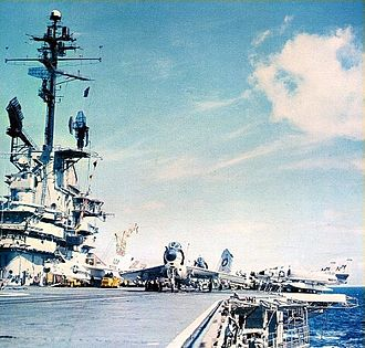 VF-142 - A VF-193 F3H-2 on the catapult of USS Bon Homme Richard, 1961.