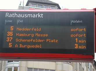 Transport in Hamburg - Passenger information system at Rathausmarkt