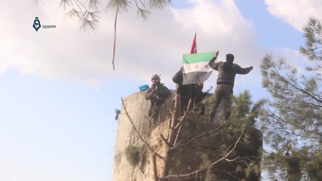 FSA and Turkish flags on Barsaya mountain
