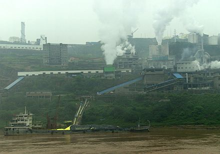 Factory with smokestacks overlooking the Yangtze River