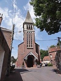Famars (Nord,Fr) église, façade.JPG