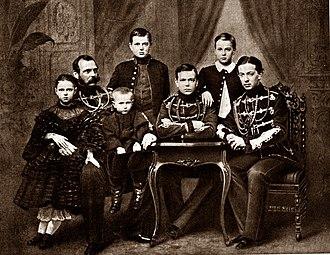 Grand Duchess Maria Alexandrovna of Russia - From left to right: Grand Duchess Maria Alexandrovna, Tsar Alexander II with Grand Duke Sergei in his lap, Grand Duke Vladimir, Grand Duke Alexander on the table with his arms crossed, Grand Duke Alexei and Tsarevich Nicholas Alexandrovich.