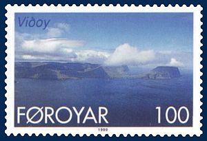 Viðoy - Stamp FR 349 of Postverk Føroya (issued: 25 May 1999; photo: Per á Hædd)