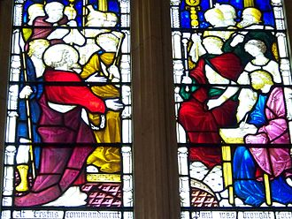 Porcius Festus - Stained glass window in St Paul's Cathedral, Melbourne showing Festus in yellow