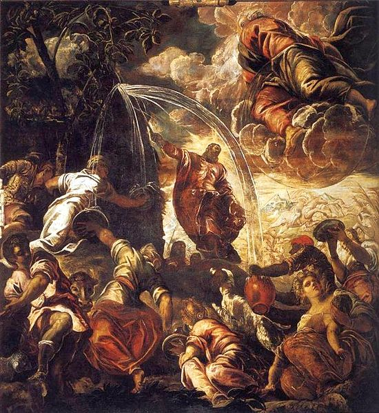 קובץ:File-Tintoretto, Jacopo - Moses Striking Water from the Rock - 1577 - 122kb.jpg