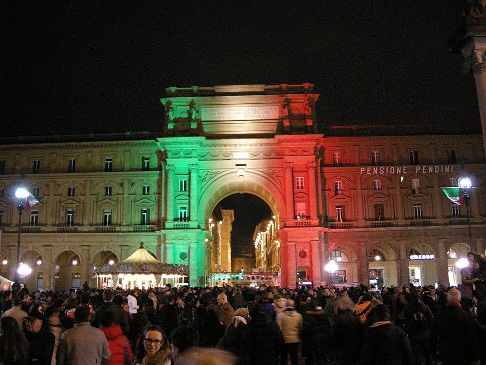 Firenze, serata tricolore, piazza della repubblica 02