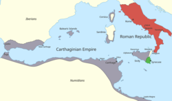 a colour of the western Mediterranean region showing the areas under Roman and Carthaginian control in 264 BC