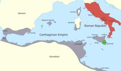 MÖ 264'te Roma ve Kartaca kontrolü altındaki bölgeleri gösteren batı Akdeniz bölgesinin rengi
