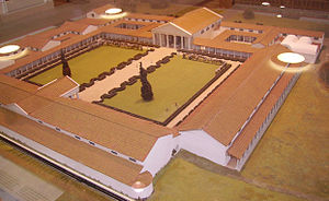 Sussex - Museum model of how Fishbourne Roman Palace may have appeared