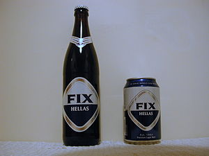 Fix (beer) - FIX Hellas beer, as relaunched in 2010: Bottle and can.