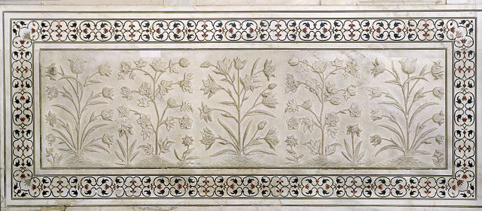 Flowers in marble, Taj Mahal, Agra, India