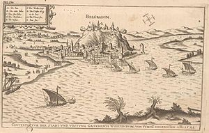 Siege of Belgrade (1456) - Fortress of Belgrade as it looked in the Middle Ages. The lower and upper town with the palace are visible.