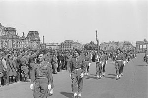 Allied-occupied Germany - French forces in front of the Brandenburg Gate, Berlin 1946