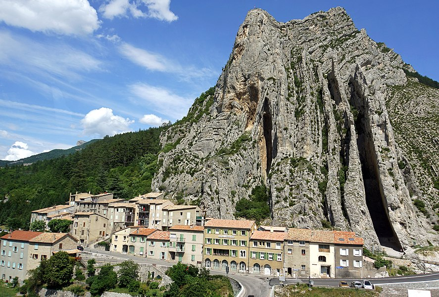 PLEASE, NO invitations or self promotions, THEY WILL BE DELETED. My photos are FREE to use, just give me credit and it would be nice if you let me know, thanks.  Bus shot.....  The Rock of La Baume is an imposing granite rock situated in the town of Sisteron. On the banks of the River Durance.