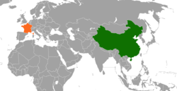 Map indicating locations of France and China