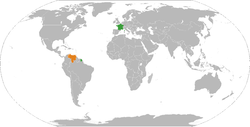 Map indicating locations of France and Venezuela