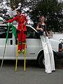 Fremont Solstice Parade 2007 - stilt walkers relax 02.jpg
