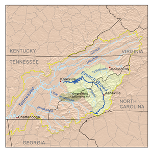 French Broad River - Image: Frenchbroadrivermap