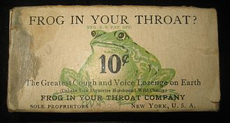 "Throat lozenge - Early 20th century ""Frog In Your Throat"" box"