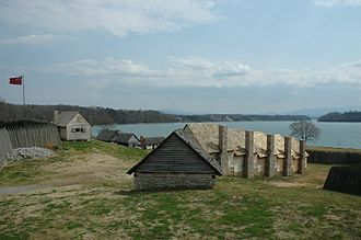 Siege of Fort Loudoun - The view of reconstructed fort interior from Bastion King George to the barracks.