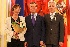 Order of Parental Glory - Russian president Dmitry Medvedev presenting the Order of Parental Glory to Gabriel and Marina Medvedev on June 1, 2009. (Photo www.kremlin.ru)