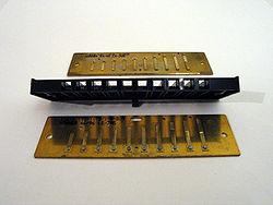 Partes de uma gaita: pente e placas de palhetas
