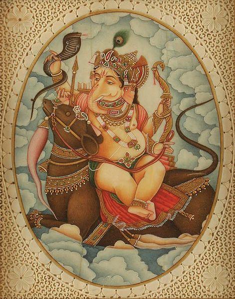 File:Ganesh sits affectionately with his vahana, Mushika another version.jpg