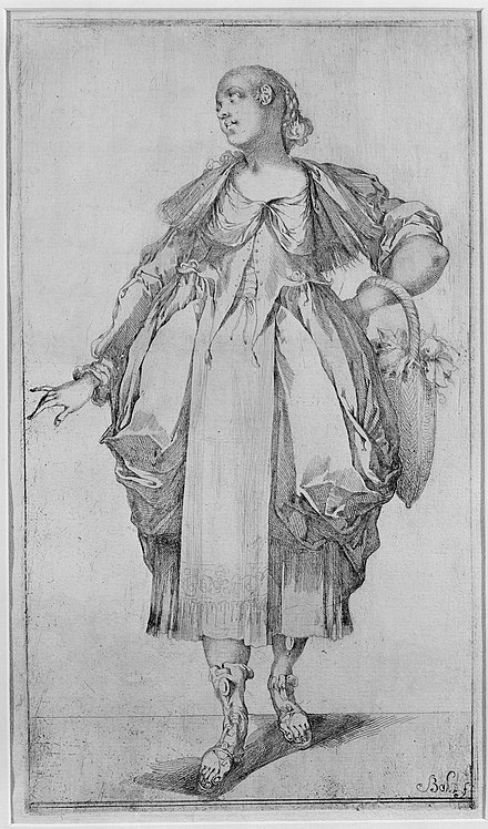 Etching by Jacques Bellange, Gardener with basket c. 1612 Gardener with a Basket on her Arm, from Hortulanae series MET MM10514.jpg