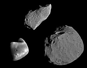 951 Gaspra - Gaspra (top) and the Martian moons Phobos and Deimos, to scale