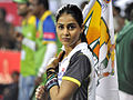 Genelia Dsouza with flag at CCL. India, 2011.jpg