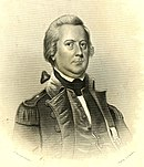 Print of a middle aged man in an 18th century military uniform with epaulettes