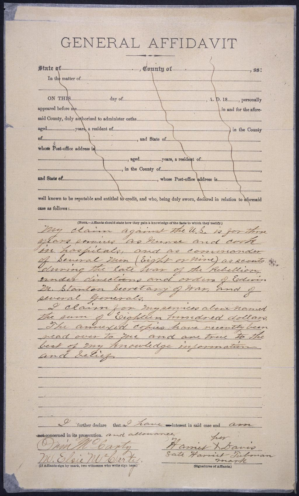 Page:General affidavit of Harriet Tubman (1898) djvu/1