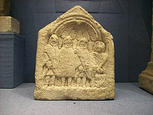 Hooded Spirits - Three Genii Cucullati and a goddess on a relief from Roman Britain