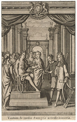 George Farquhar - Engraving of a performance of George Farquhar by Michiel van der Gucht after unknown artist, published 1711