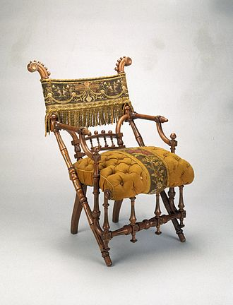 Upholstery - George Jacob Hunzinger, Armchair, designed 1869. Patented March 30, 1869. Wood, original upholstery. Brooklyn Museum