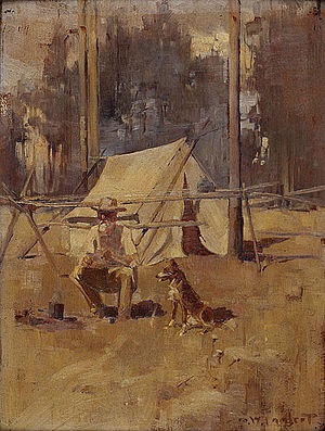Swagman - George Lambert, Sheoak Sam, 1898. Most swagmen travelled alone or with a dog.