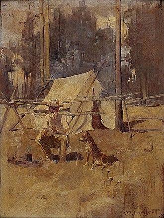 Swagman - George Lambert, Sheoak Sam, 1898. Most swagmen travelled alone or with a dog.
