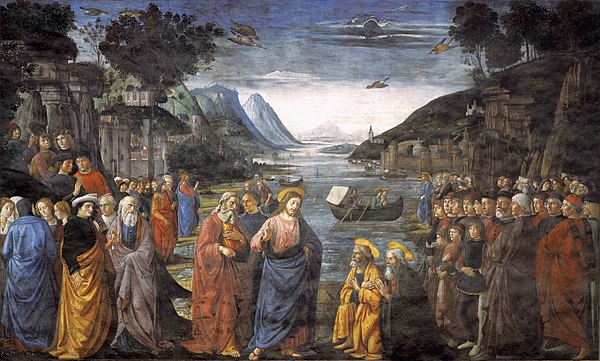 Calling of the Apostles by Domenico Ghirlandaio (1481) depicts Jesus commissioning the Twelve Apostles Ghirlandaio, Domenico - Calling of the Apostles - 1481.jpg