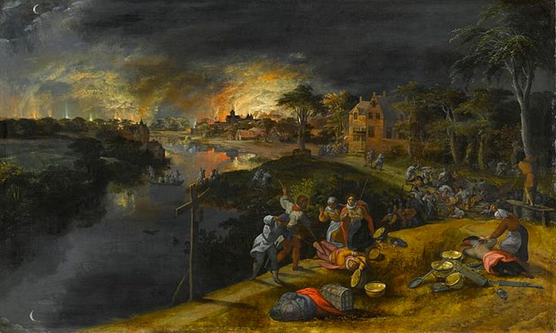 File:Gillis Mostaert - Scene of war and fire.jpg